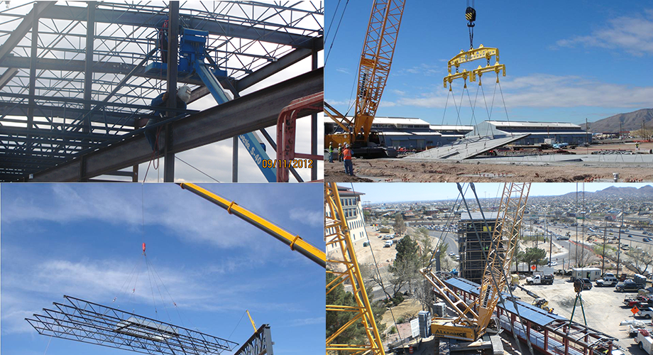 Four pictures of how Alliance Rigging has helped erect steel structures in El Paso and New Mexico